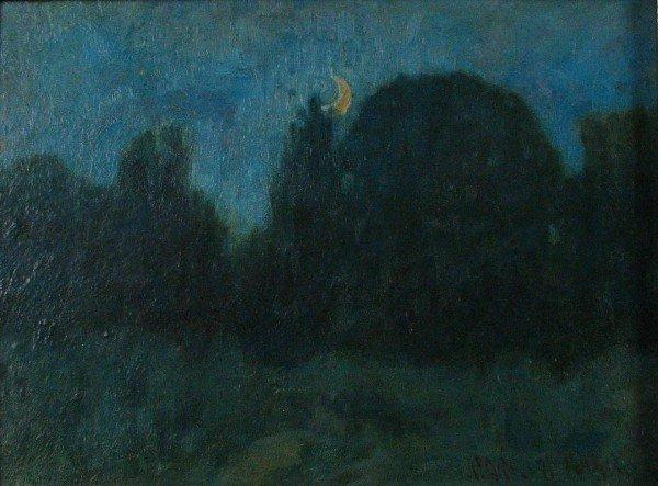 "212: Carl C. Graf 6x8 Oil on  Board ""Early Moonlight"""