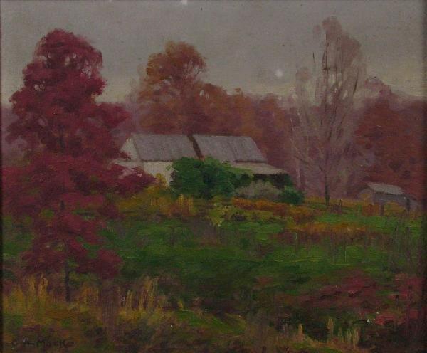 215: GA Mock 9 x 11 O/B Autumn Landscape, Barn