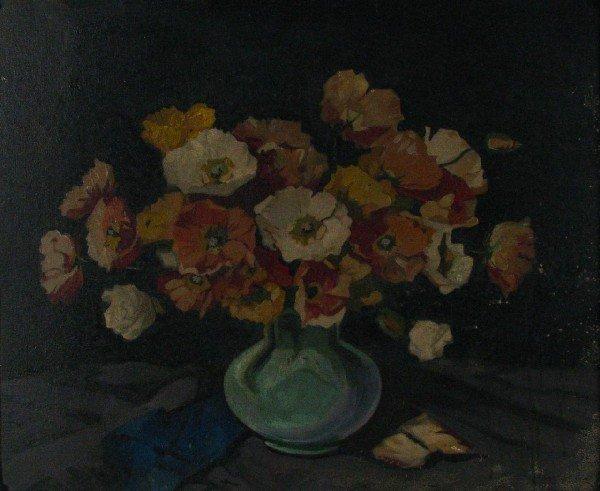 218: John Zwara 20x24 Oil on Board Floral Still Life