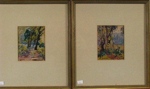 221: John Zwara Pair Watercolor Woods and Meadow