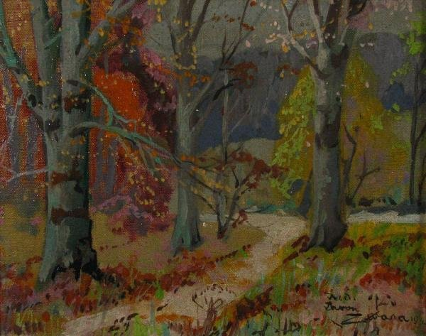 222: John Zwara 7x8.5 Oil on Board Autumn Landscape