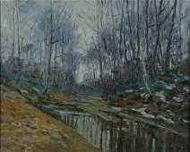234: GH Baker 16x20 O/B Autumn Landscape, Creek