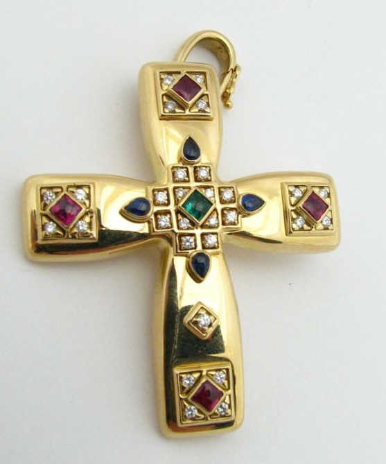 17: Cartier 18K Yellow Gold Cross Gemstone Pendant