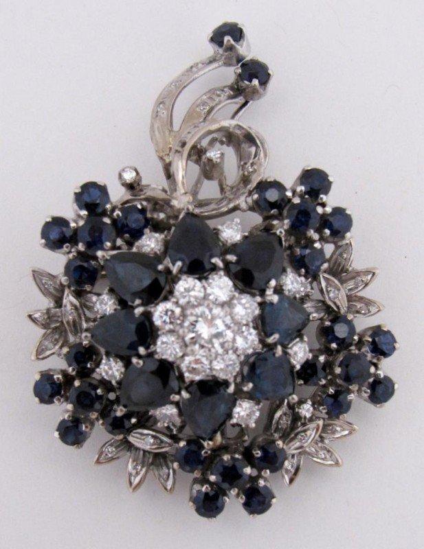 23: 18K White Gold Sapphire & Diamond Pin/Pendant
