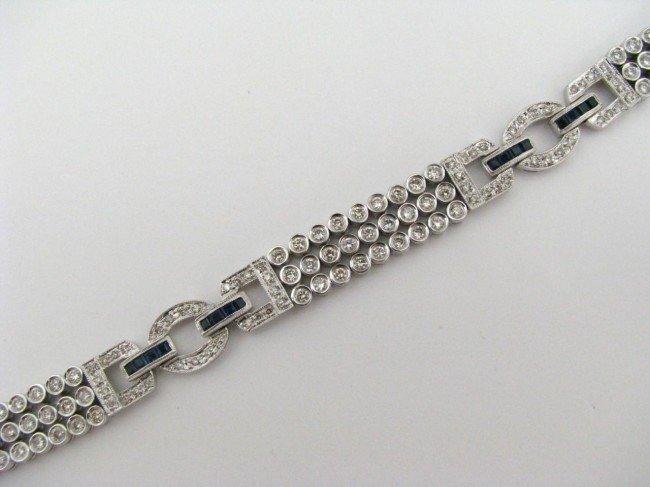 24: 14K White Gold Diamond and Sapphire Bracelet