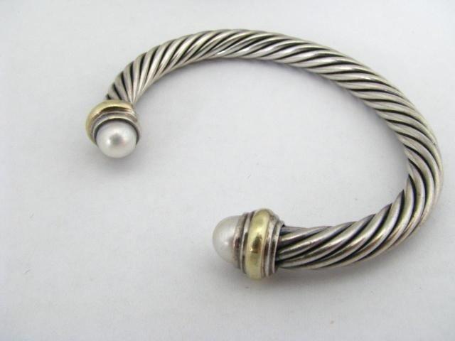 404: David Yurman 14K, Sterling Cable Bracelet, Pearl