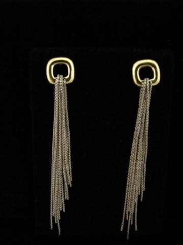 405: David Yurman18K Yellow Gold and Sterling Earrings