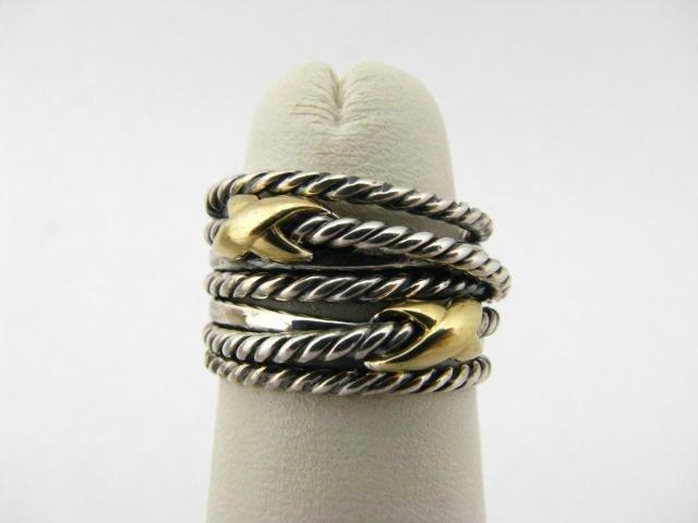 406: David Yurman 18K Yellow Gold and Sterling Ring