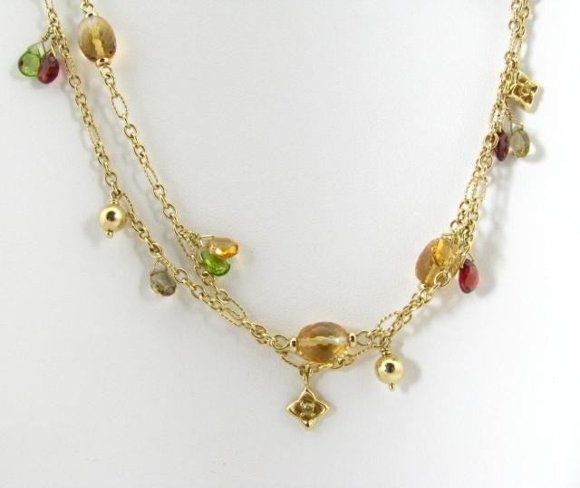 407: David Yurman 18K Yellow Gold Multi-Gem Necklace