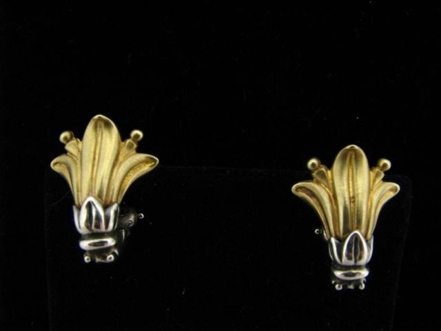 412: Lagos 18K Yellow Gold and Sterling Caviar Earrings