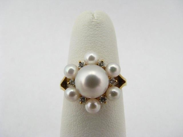 412A: Mikimoto Pearl and Diamond Cluster Ring