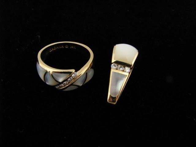 413: Kabana 14K, MOP and Diamond Pendant, Ring