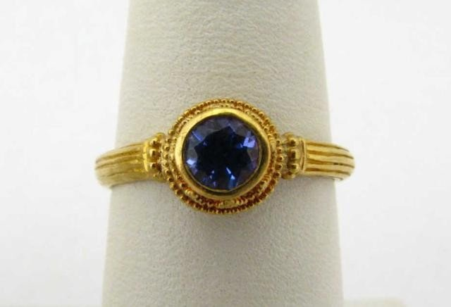 414: Kabana 22K Yellow Gold Tanzanite Ring