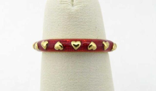 416: Hidalgo 18K Yellow Gold Red Enamel Ring