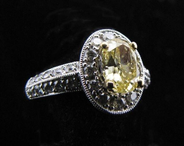 430: 18K WG Fancy Yellow Diamond Ring, EGL Certified