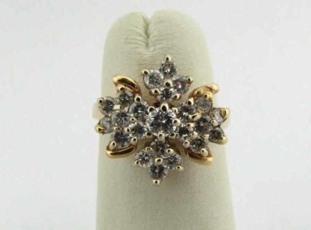 300: 14K Yellow Gold Diamond Cluster Ring