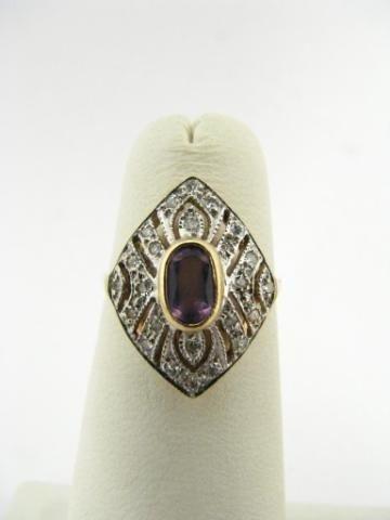 301: 14K Yellow Gold Gemstone and Diamond Ring