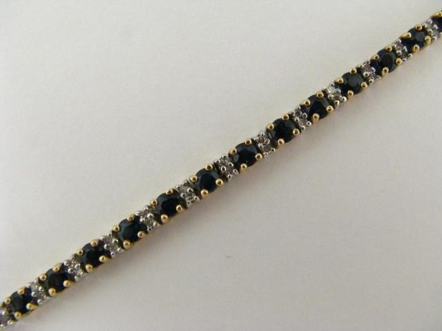 318: 14K Two Tone Sapphire and Diamond Line Bracelet