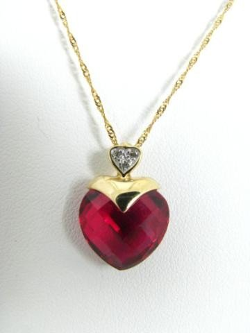 323: 14K Yellow Gold Red Heart Pendant