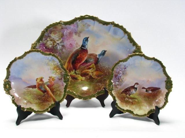 443: Set of Limoges Porcelain Game Bird Platter, Plates
