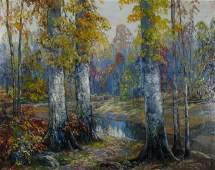 565: JW Hardrick 24x30 O/B Autumn Woods, Creek