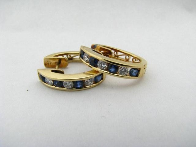 617: Pair of 18K Yellow Gold Sapphire, Diamond Earrings