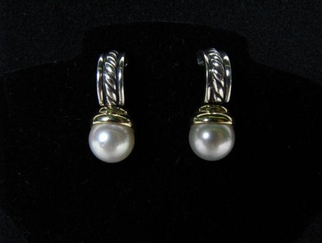 651: Pair of David Yurman 18K, Sterling Pearl Earrings