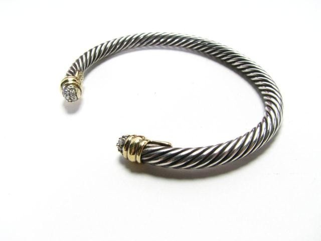 653: David Yurman 18K and Sterling Diamond Cuff Bangle