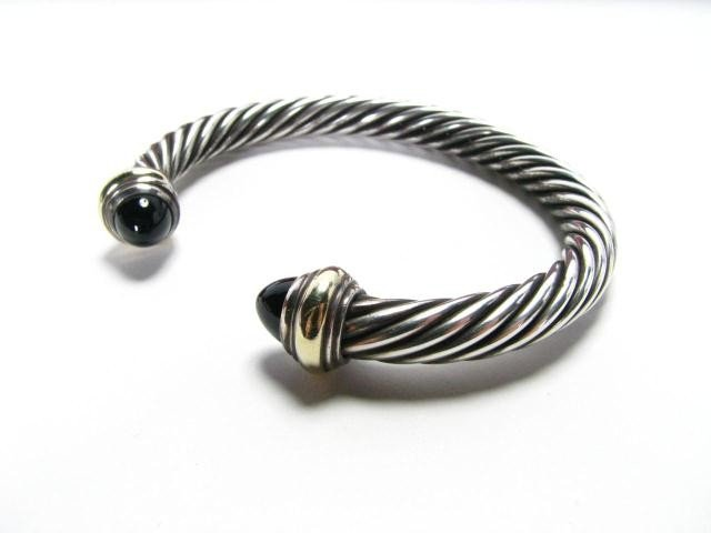 654: David Yurman 14K and Sterling Cuff Bangle, Onyx