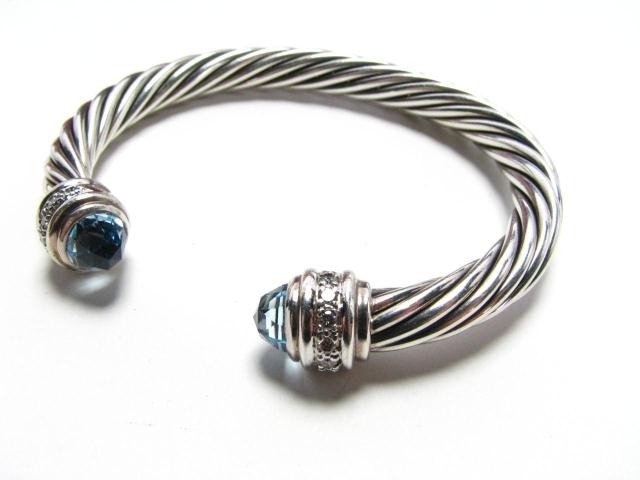 655: David Yurman Sterling Blue Topaz, Diamond Bangle