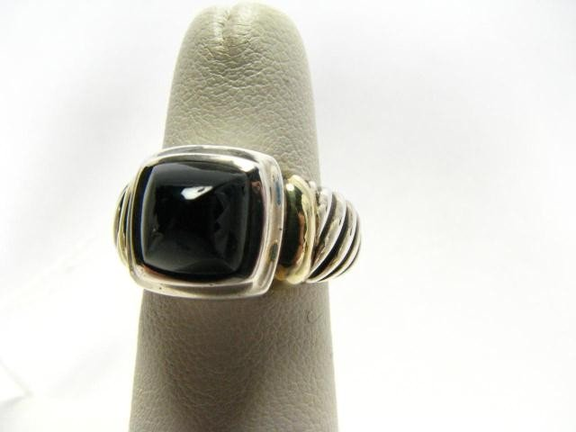 656: David Yurman 18K and Sterling Black Onyx Ring