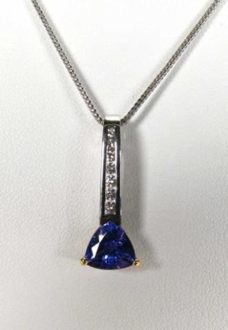 657: Krementz 18K, Platinum Diamond, Tanzanite Pendant