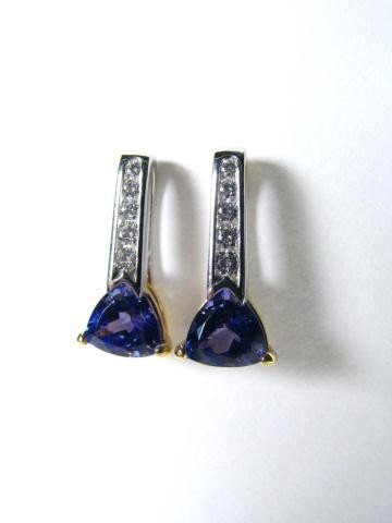 658: Krementz 18K, Platinum Tanzanite, Diamond Earrings