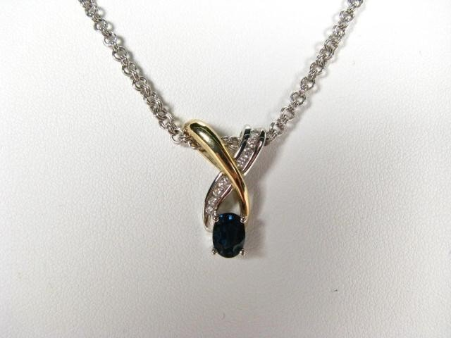 663: 14K Two Tone Sapphire and Diamond Pendant