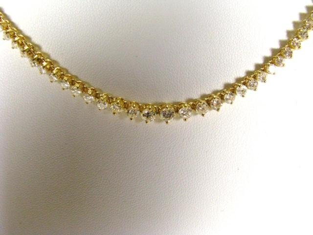 665: 18K YG Diamond Necklace, 12cts diamonds