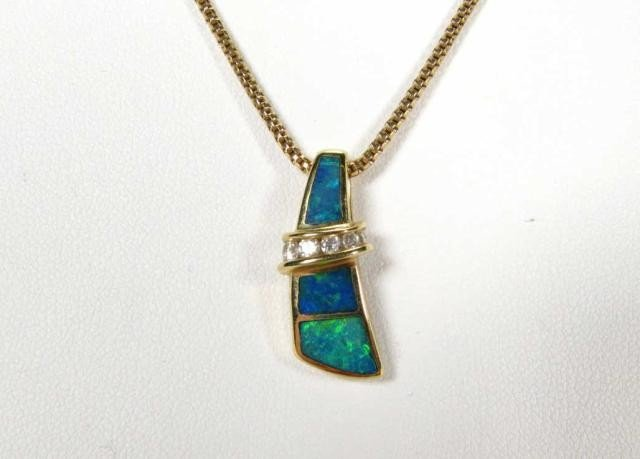 671: 14K Yellow Gold Opal and Diamond Necklace