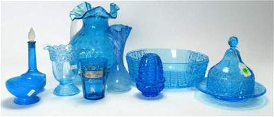 718: Group of Antique & Vintage Blue Colored Glass