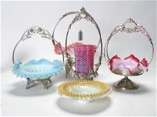 787 Group of Brides Baskets  Victorian Glass