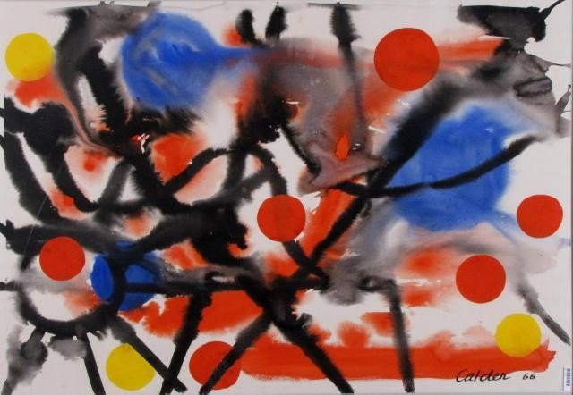 963: Alexander Calder 29x42 Gouache/WC 1966 Jugglers Dr