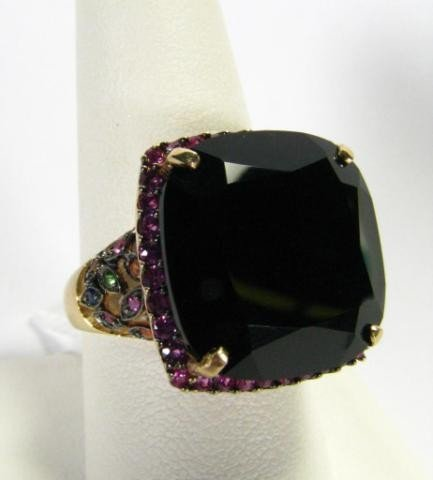 408: Multi-Color Sapphire Lady's Ring With Large Onyx