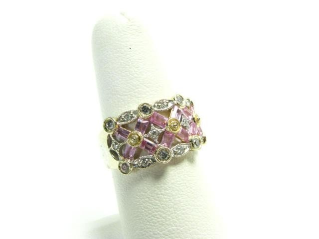 410A: 18K Two Tone Pink Sapphire and Diamond Ring
