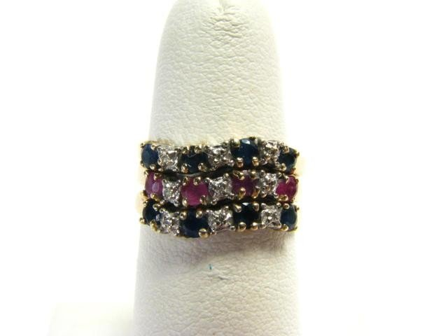 411A: 10K Yellow Gold Three Stacking Rings With Stones