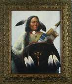 514 Vintage Lithograph Depicting an Indian Chief