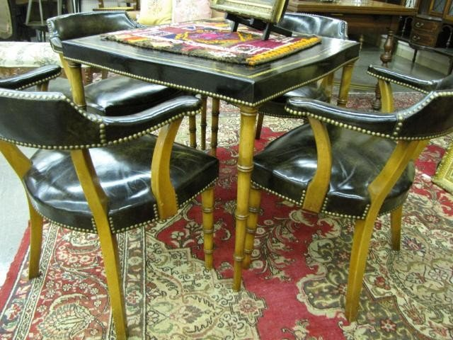 Vintage Leather and Bamboo Card Table and Chairs