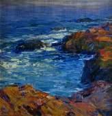 732 Emile A Gruppe 14 x 14 Oil on Canvas Rocky Coastl