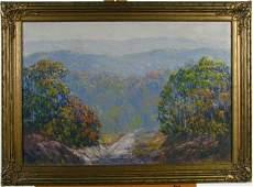 738: JW Hardrick 21x31 O/B Autumn Woods