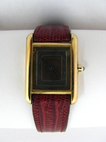 2A: Cartier Lady's 18K Vermeil Tank Style Watch