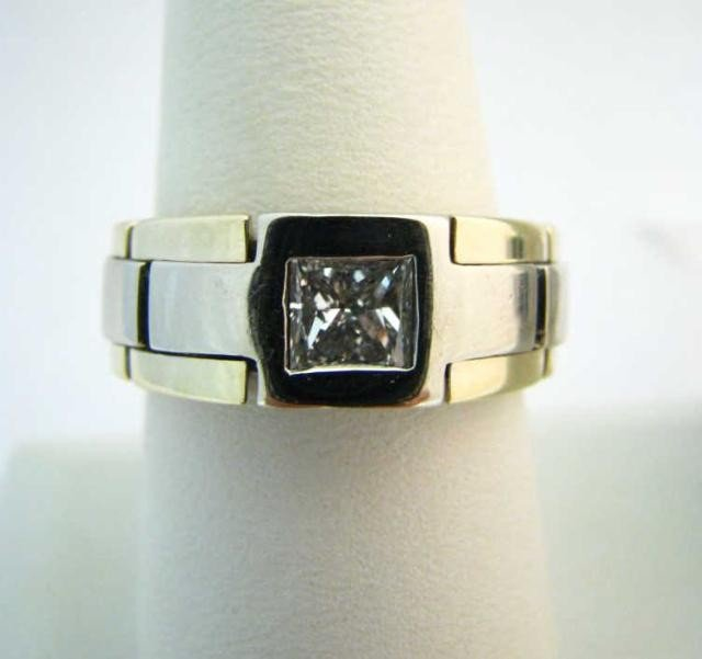 9: Gent's Two-Tone 14K Gold Band, Diamond
