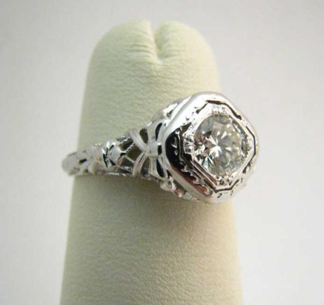 14: 18K White Gold Filigree Diamond Ring