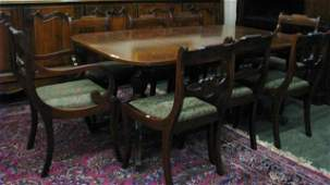 256: Vintage Mahogany Dining Room Suite, Eight Chairs